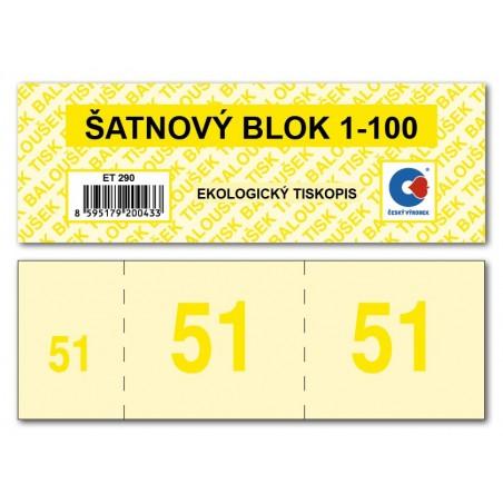 Šatnové bloky  1-100 čísel